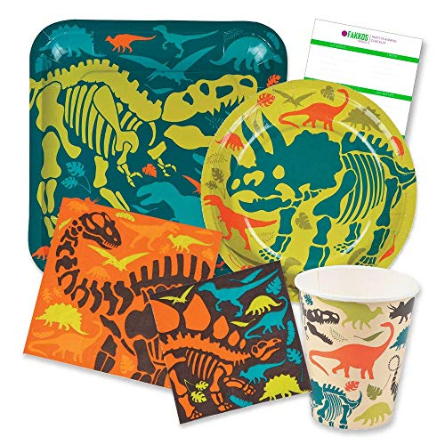 Dinosaur Pack Party (Dinosaur Birthday Party Supplies Pack for 16 people Includes: Large 9 Square Plates, dessert plates, lunch and beverage napkins and paper cups)