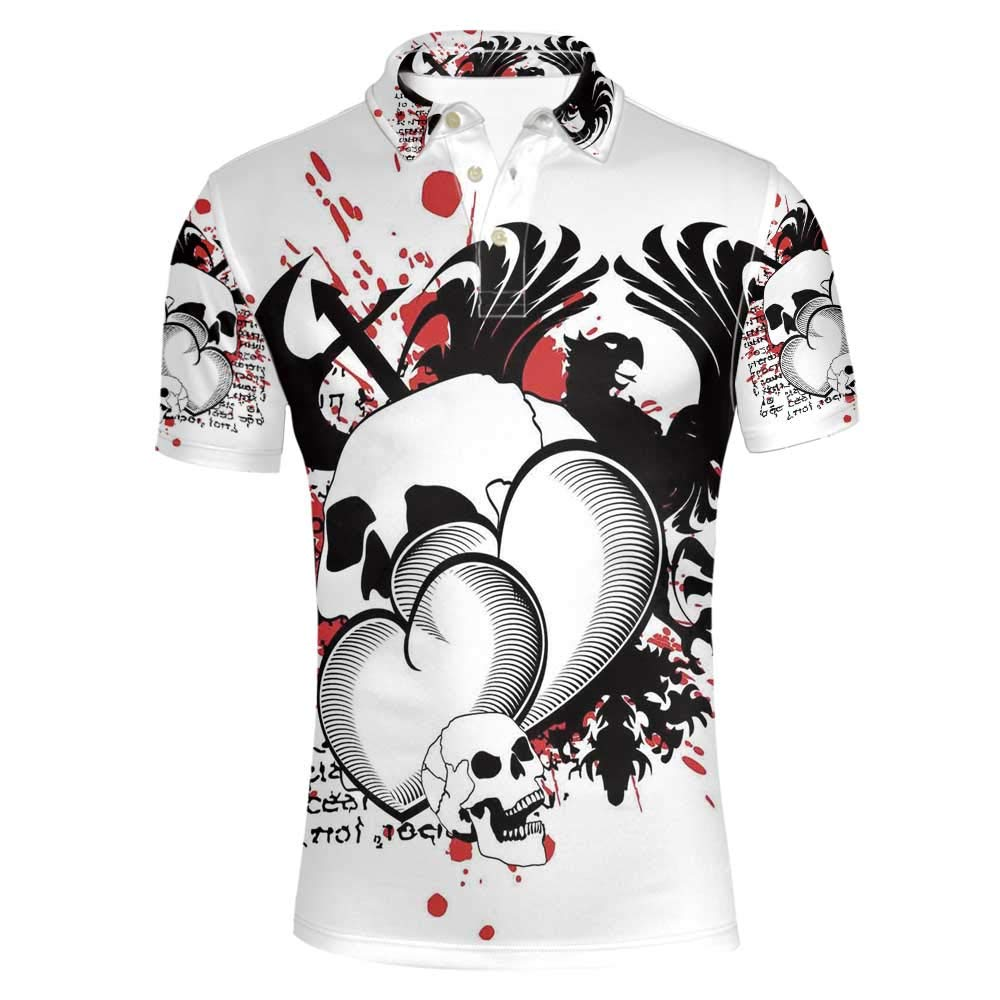 Tattoo Decor Stylish Polo Shirt,The Majestic Creature Head of a Wild Wolf Tribal Tattoo Design Art Print for Men,XXXL