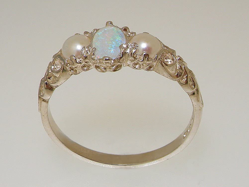 925 Sterling Silver Real Genuine Opal Cultured Pearl Womens Band Ring