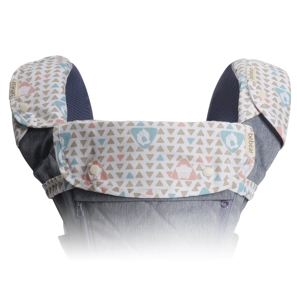 Bebamour Drool Teething Pad for Boy& Girl 3 Piece Set Fit Ergo, Babybjorn Most Baby Carrier,Gray BeCT00401