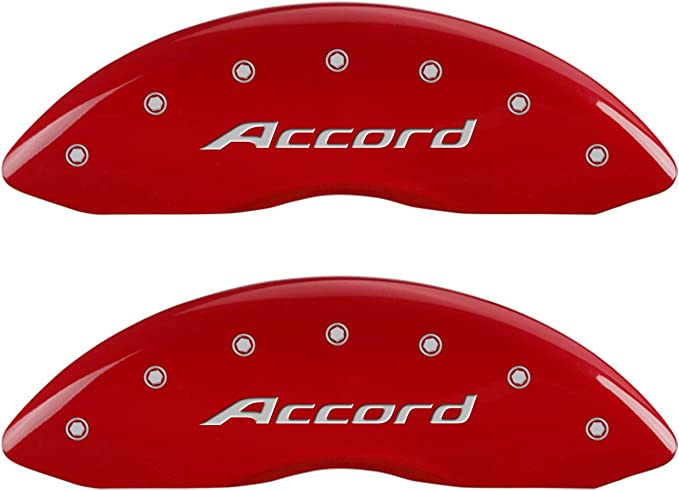 Accord Silver Characters, Engraved Set of 4 MGP Caliper Covers 20219SACCRD Red Powder Coat Finish Front and Rear Caliper Cover