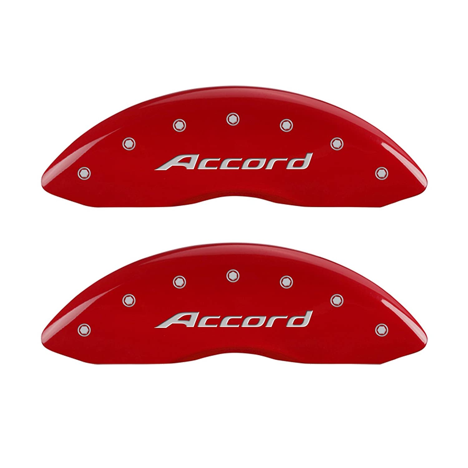 MGP Caliper Covers 20219SACCRD Red Powder Coat Finish Front and Rear Caliper Cover, Set of 4 (Accord Silver Characters, Engraved)