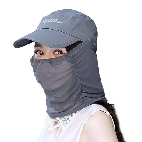 ezyoutdoor anti-UV sombrero de sol con extraíble parasol y cuello cara  máscara protección con a51d597bd13