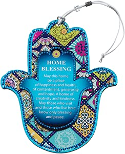 Multicolor 2 Layer Wooden Hamsa Hand Wall Decor Evil Eye Charm Protection, Oriental Design Amulet Home/Business Good Luck Charms, English Home Blessing