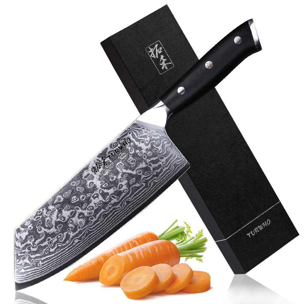 TURWHO Cleaver Knife - Japanese VG-10 Damascus Steel - Chinese Chef's Knife for meat and vegetable with Ergonomic G10 Handle - 7.5'' by TURWHO (Image #1)