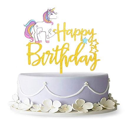 Amazon Colorful Unicorn Happy Birthday Cake Topper