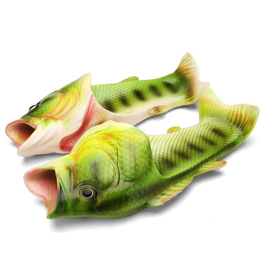 CREE Fish Animal Slippers Summer Beach Sandals Shower Slippers Non-Slip Beach Shoes Wear for Women Men and Kids Casual Shoe (8 Male/9 Female US, Green)