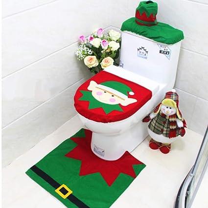 Toilet Seat Covers Amazon.T Raputa Santa Christmas Toilet Seat Cover Set Rug Tissue Box Cover Set Christmas Decorations Elf