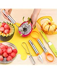 Win 7 in 1 Stainless Steel Melon Baller Kit with Melon Scoop Apple Cutter Fruit Carver Melon Corer Peeler + Free Fruit... online