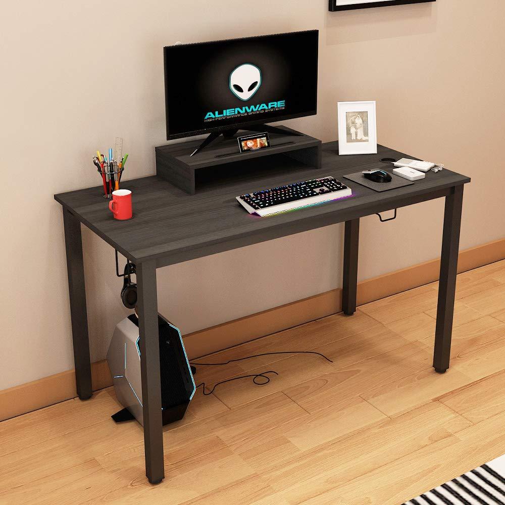 Need Gaming Tisch Professioneller Computertisch Schreibtisch B/ürotisch aus Holzwerkstoff mit Monitorstand Getr/änkehalter und Haken f/ür Aufbewahrung,120 60 cm,Schwarz