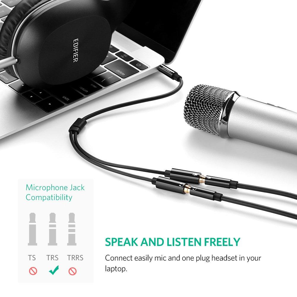 MP3 Tablet UGREEN Cavo Audio Microfono Cuffie Adattatore Y Jack Sdoppiatore Microfono Cuffie Splitter Jack 3,5mm Compatibile con PS4 Xbox One Cuffie PC Altoparlanti Smartphone