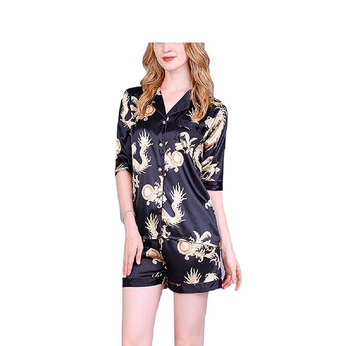 SYGoodBUY Conjunto de Pijama de Mujer Camisa de Manga Corta Chaqueta + Pantalones Cortos de Satén