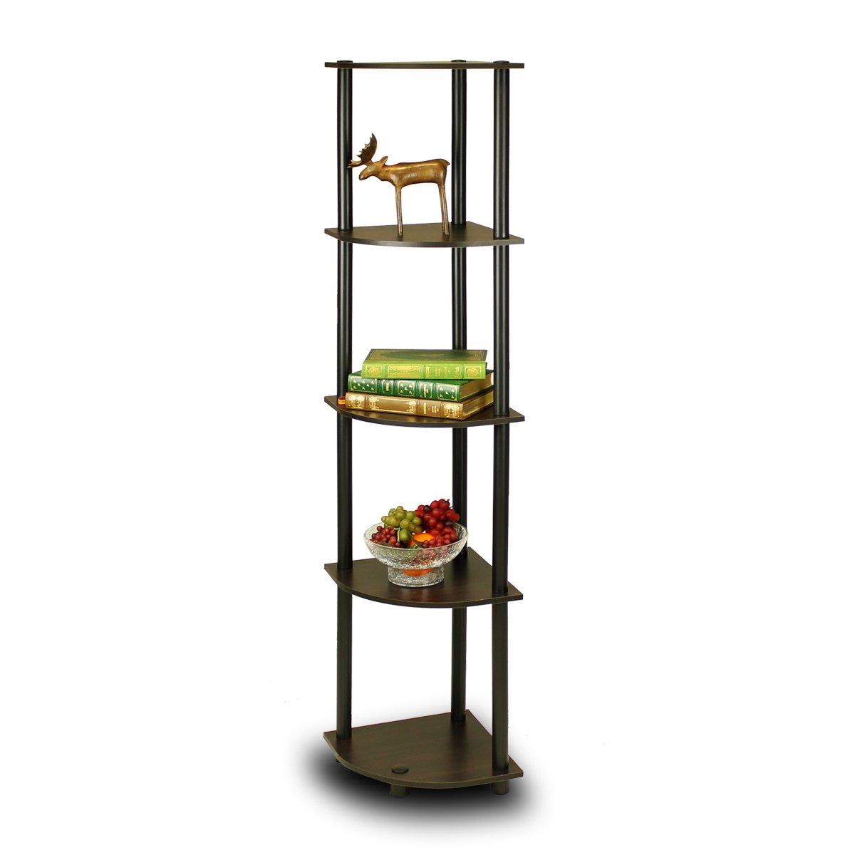 Furinno 99811EX/BK Turn N Tube 5 Tier Corner Shelf, Espresso/