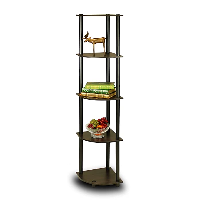 Furinno 99811EX/BK Turn-N-Tube 5 Tier Corner Shelf, Espresso/Black