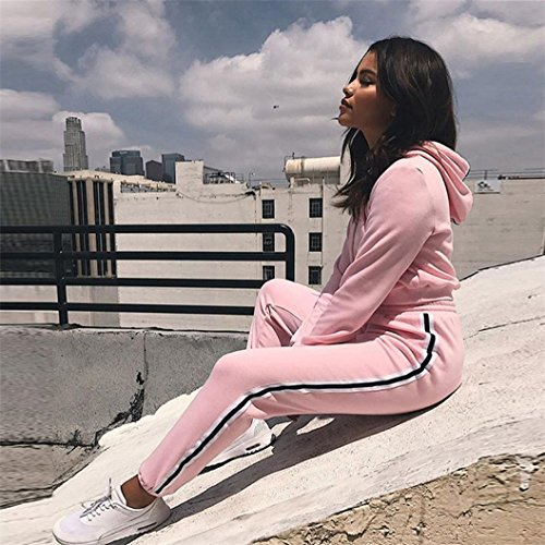 Femmes Sportsuit 2 Pcs Suit Hoodies Sweat-shirt à Capuche Crop Top Jogging Set Casual Tracksuit Sporting Long Pantalons Sportswear Set
