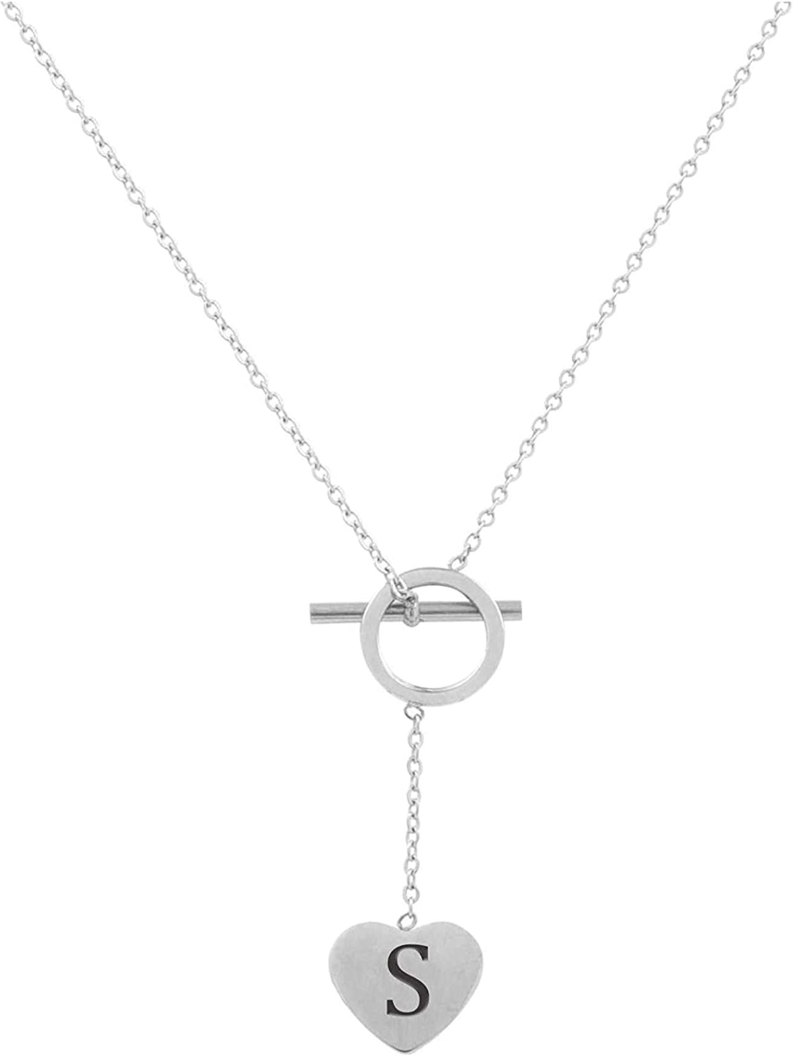 Pink Box Heart Lariat Initial Necklace S Silver