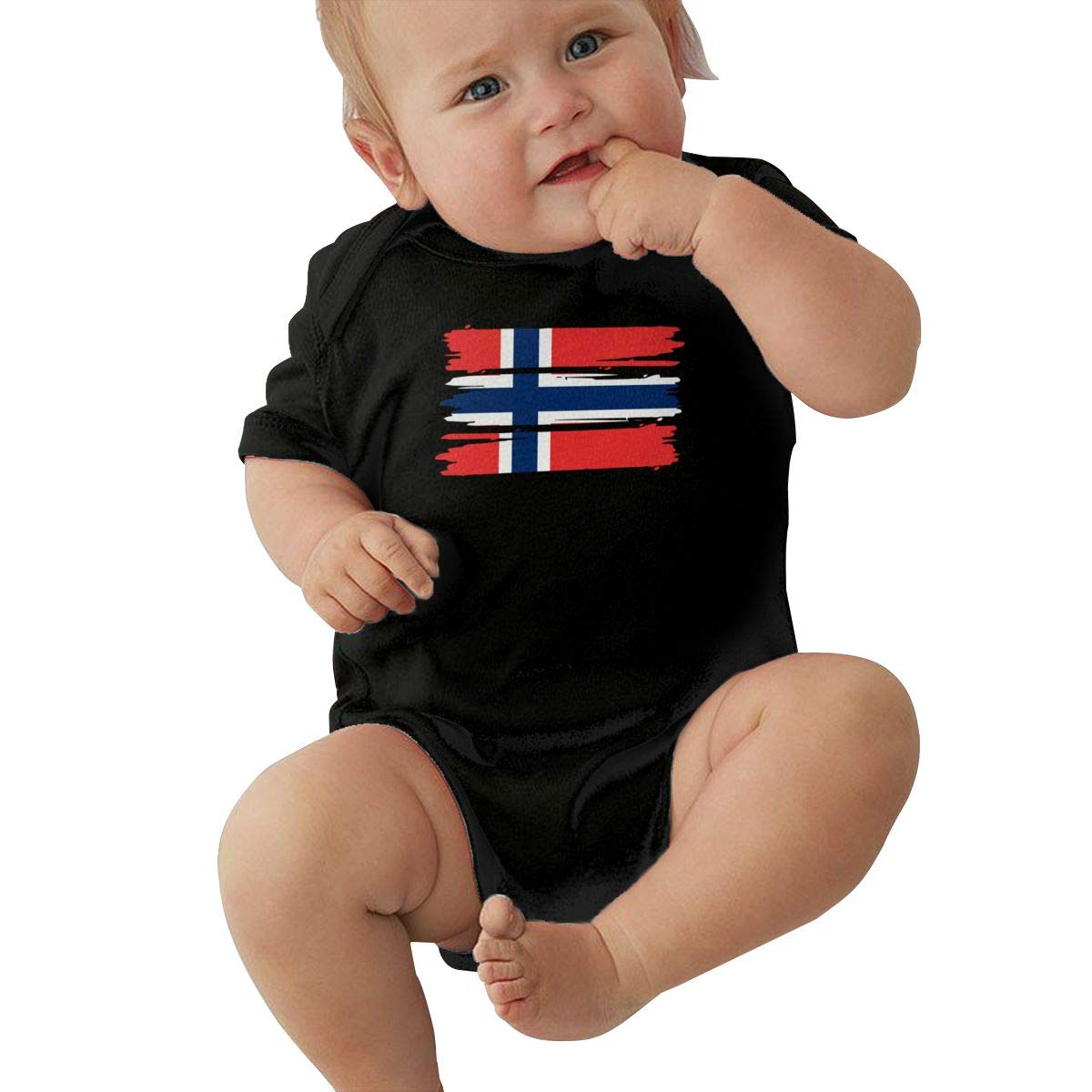 TAOHJS97 Baby Girls Norway Flag Short Sleeve Climbing Clothes Playsuit Suit 6-24 Months