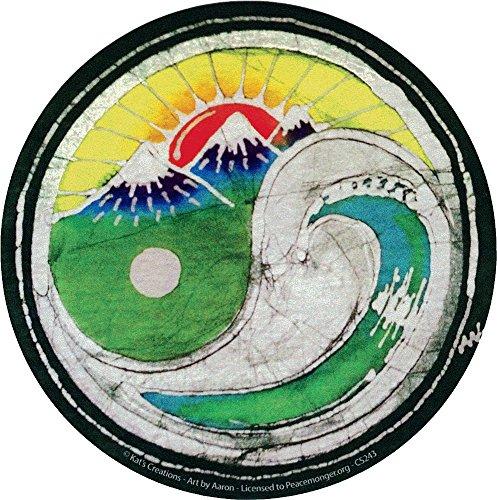 Sunset Wave Yin Yang Batik - Bumper Sticker /Decal (4.5