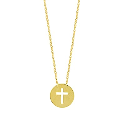 bd576a6a9794 Image Unavailable. Image not available for. Color: 14K Yellow Gold Mini  Cross Pendant ...