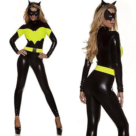 2dbec219a60 XDB Lencería Mujer Mono Disfraz de Disfraz de superheroe Gato Mujer Costume  Catsuit Traje con Mascara