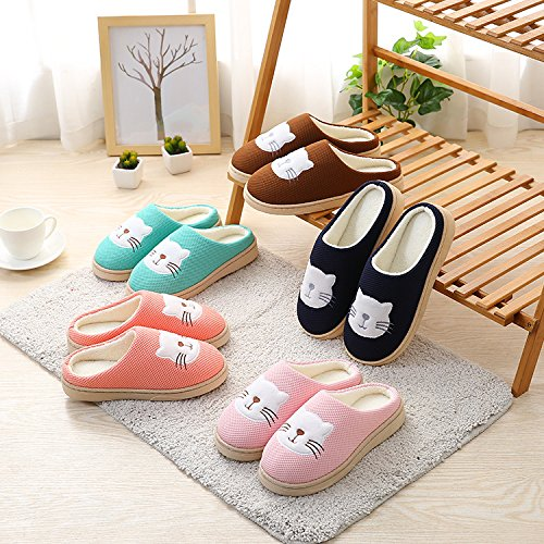 Auspicious beginning Unisex Comfort Plush Fleece Lined House Shoes Cute Cat Printed Bedroom shoes Navy T1V4X8H7d