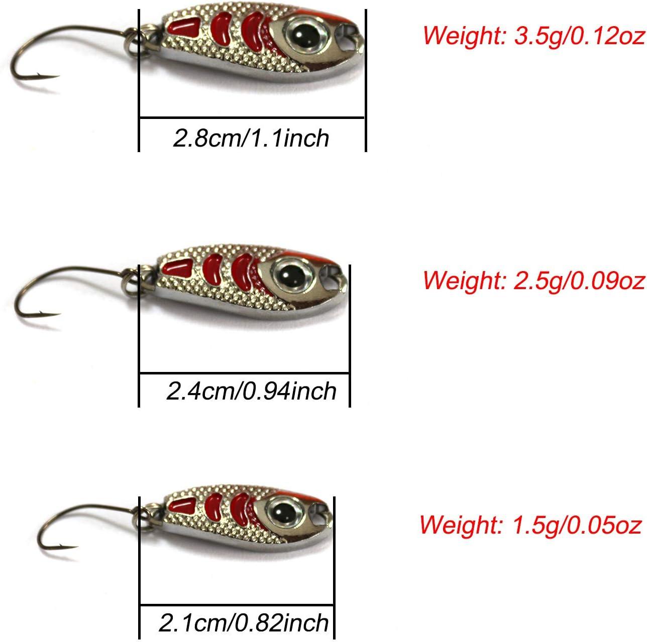 Fishing Spoon Trout Kit 10 PCS Kit Cucchiaini per Trota Esche da Pesca Artificiali Esche Artificiali Spinning Trota FitTrek Cucchiaini Pesca Spinning Trota