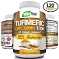 Turmeric Curcumin with BioPerine® Black Pepper 1300mg, 120 Veggie Capsules, with 95% Curcuminoids - Highest Potency, All Natural, Non-GMO, Gluten FREE Antioxidant, for Pain Relief and Joint Support