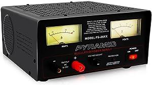 Universal Compact Bench Power Supply - 22 Amp Linear Regulated Home Lab Benchtop AC-to-DC 12V Converter w/ 6-15V DC 115V AC 500 Watt Input, Amperage Gauge Display, Adjustable Voltage - Pyramid PS26KX, BLACK