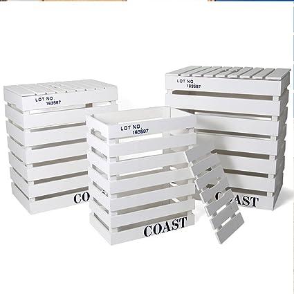 Set de 3 cajas de madera Coast blanca (Medidas de la grande:44x31x50cm)