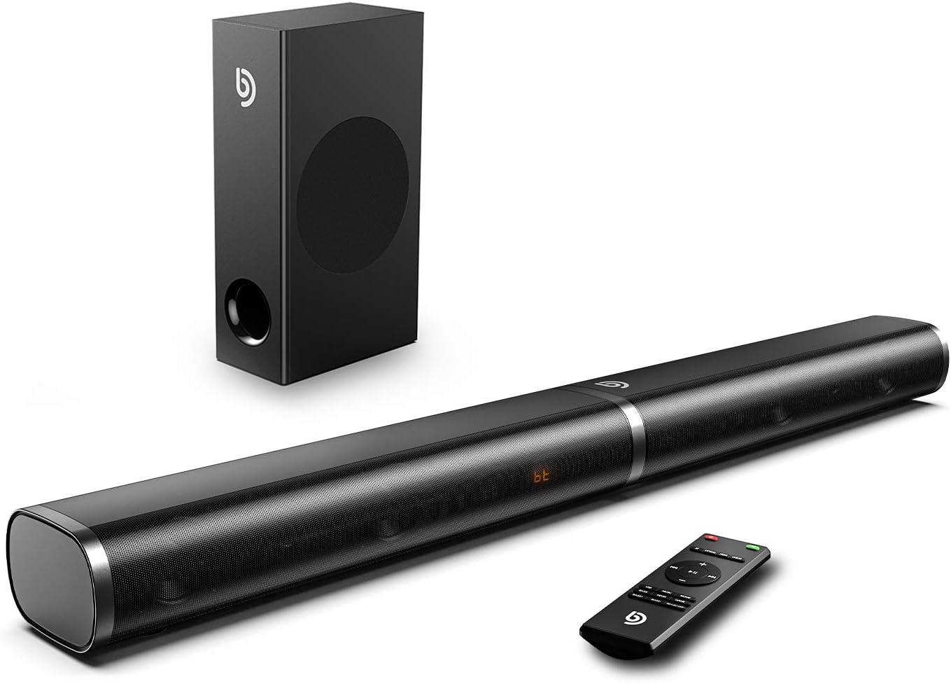 Bomaker, Barra de Sonido para TV, 190W con Subwoofer, Potencia 125 dB, HDMI, Bluetooth 5.0, 6 Modos de Sonido, Bajos Ajustables, Óptico, 3,5 mm AUX, USB, para Cine en Casa, Tapio III