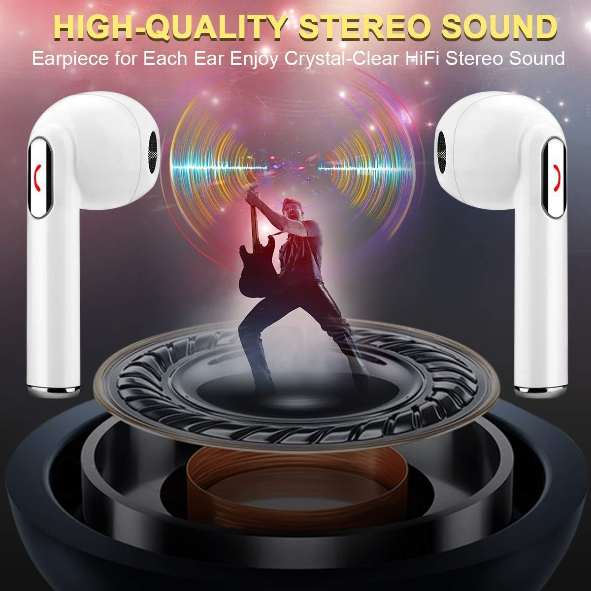 TAKTOP Wireless Earbuds Stereo Bluetooth Headphones with Charging Case Mini in-Ear Earphones Built-in Mic Noise Canceling Sweatproof Sports Wireless Headphone Bluetooth Earbud White