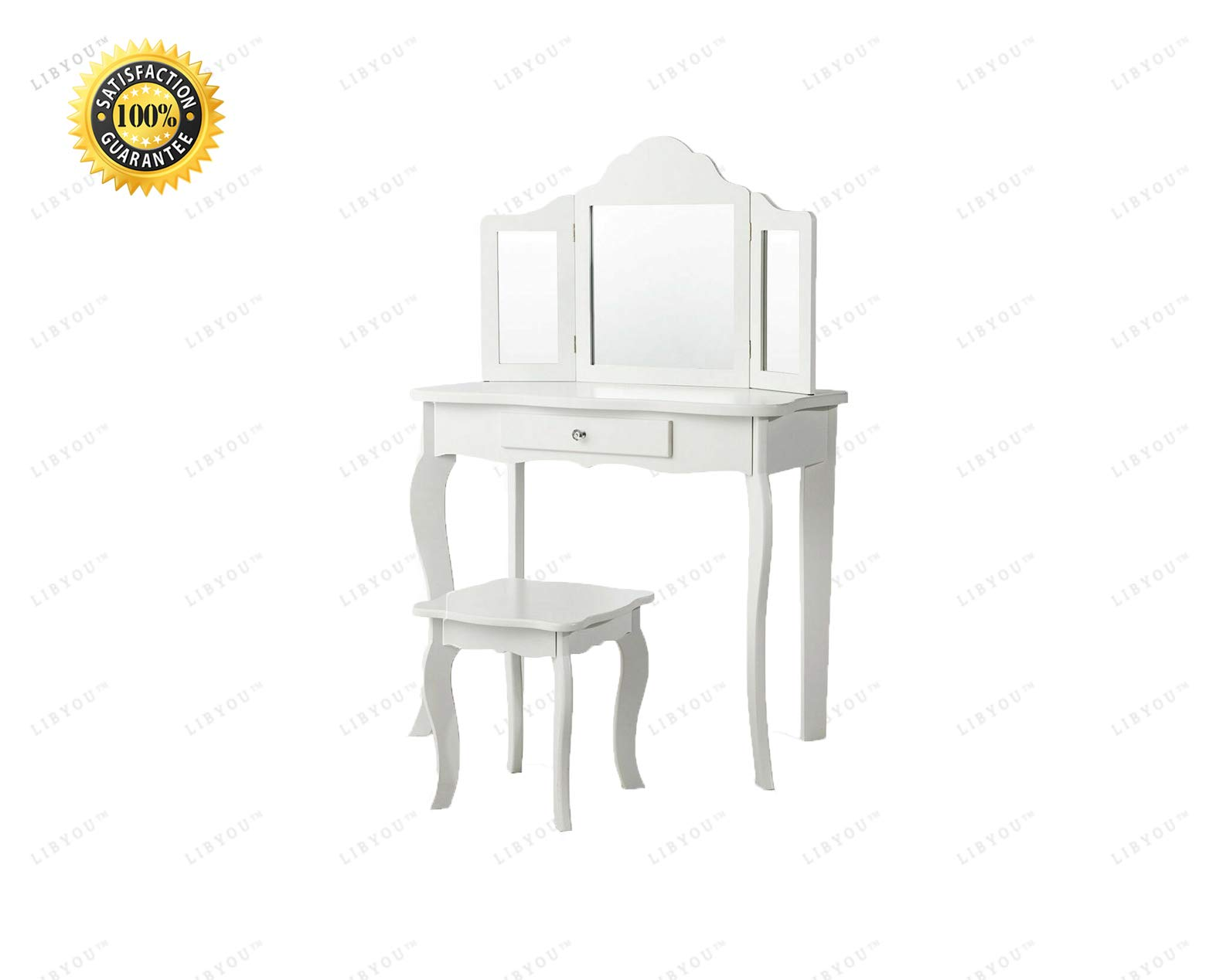 LIBYOU__Mirrored Dressing Table,Vanity Table Set,Makeup Dressing Table,Dressing Table,Vanity Makeup Table Stool Set,Wood Makeup Table Stool Set,Wood Makeup Dressing Table,Mirror Makeup Table