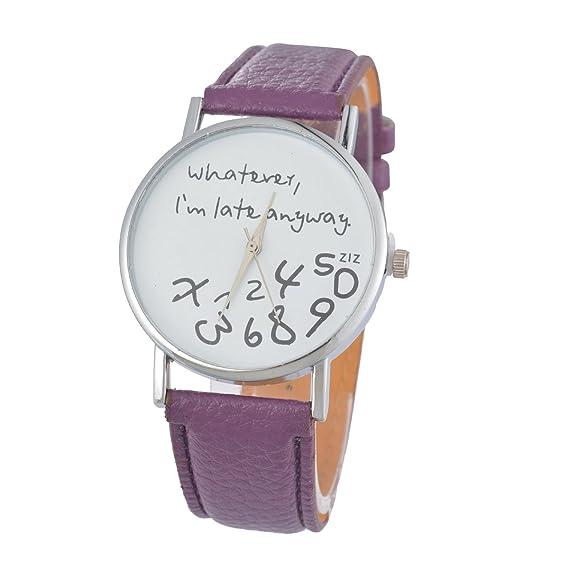 Reloj de pulsera para mujer Lila Souarts jóvenes pulsera de pila esfera: Amazon.es: Relojes