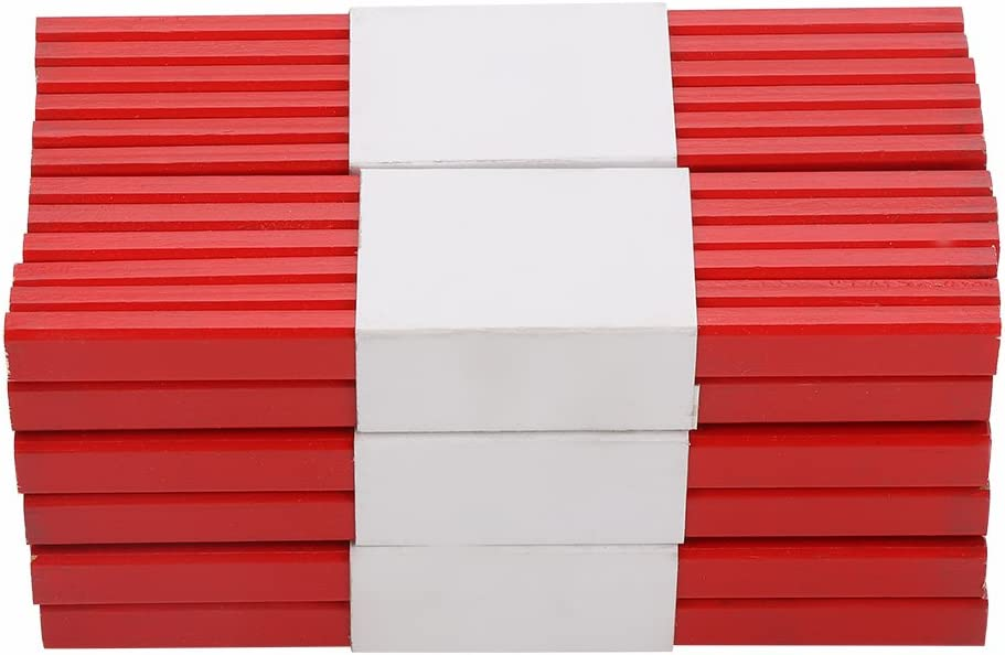 72 Unids 175mm Octagonal Rojo Duro Negro Plomo Carpintero L/ápiz Herramienta de Marcado de carpinter/ía