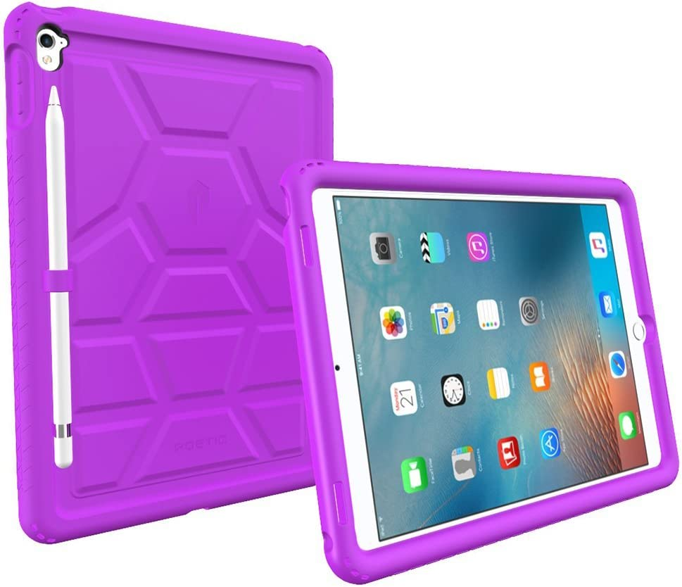 iPad Pro 9.7 Case - Poetic Rugged Protective Silicone Case [Corner/Bumper Protection][Grip][Sound-Amplification][Bottom Air Vents] w/Apple Pencil Holder for iPad Pro 9.7 (2016) Purple