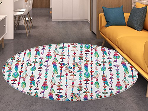 (Feather Non Slip Round Rugs Marine Accessory Chains Pendants Mineral Stones Shells Beads Watercolor Style Art Oriental Floor and Carpets Multicolor)