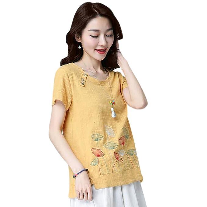 Hzjundasi Mujer Estilo chino Bordado Suelto Algodón Lino Tops Blusas Verano Camiseta de manga corta: Amazon.es: Ropa y accesorios