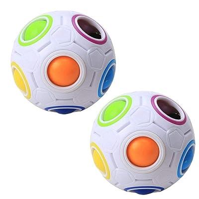 2 Piezas De Magic Rainbow Rompecabezas De La Bola Del Juguete Mágico Cubo De La Velocidad De La Bola Rompecabezas Juguetes Educativos Juegos De Fidget Juguetes Para Los Niños Adultos: Juguetes y juegos