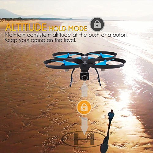 61bXG9bpRiL - SereneLife WiFi FPV Drone with HD Camera and live Video. Headless Mode Quadcopter, Altitude Hold, 1-Key Takeoff/Landing, Bonus Battery, Low Voltage Alarm, Custom Route Mode, 15 Minutes Flight Time
