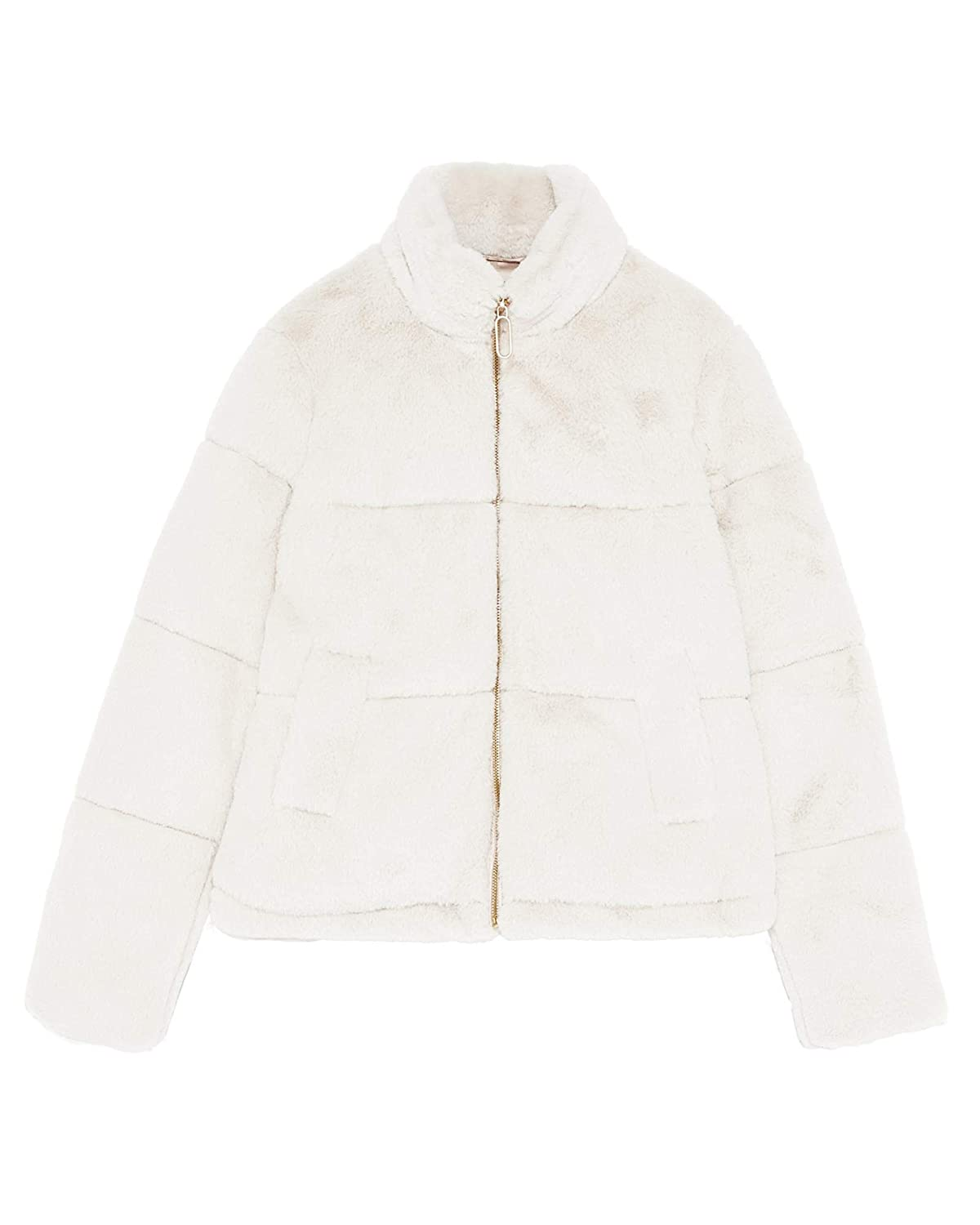 1134b6b2 Zara Women's Faux Fur Jacket 8073/033 Off-White: Amazon.co.uk: Clothing
