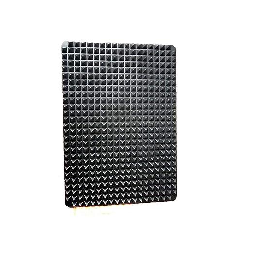 CHOULI Estera de Silicona para Barbacoa portátil Horno de microondas Hoja de Almohadilla para Hornear Diseño piramidal Negro