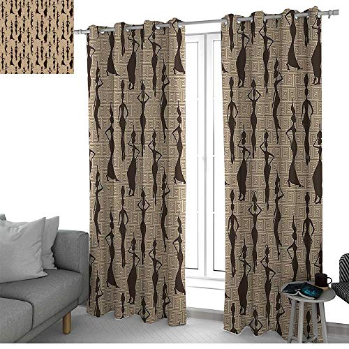 NUOMANAN Curtains for Bedroom African,Woman of Color Carrying Water Vases Oriental Culture Silhouette Pattern,Beige Tan Dark Brown Curtain Panels for Bedroom & Kitchen, 1 Pair54 x84