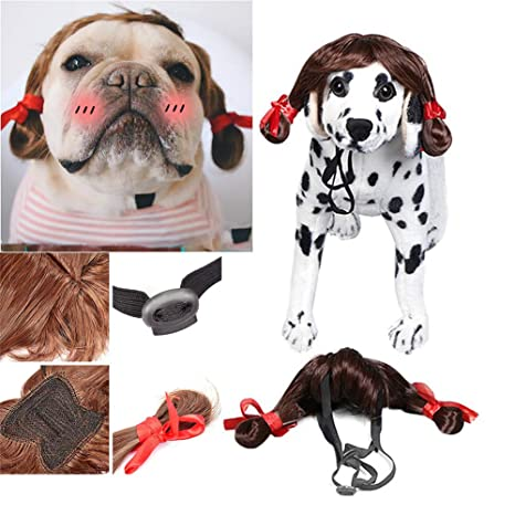Hilai Pelucas para Mascotas Perros Gatos Accesorios del Traje de Cosplay Divertido para Grandes Mediano Mascotas