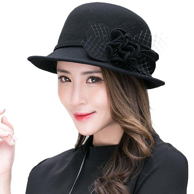 29dc464395fcd 100% Wool Felt Cloche Hat for Women 1920s Vintage Derby Church Bucket  Bowler Hat Winter Black SIGGI  Amazon.ca  Clothing   Accessories