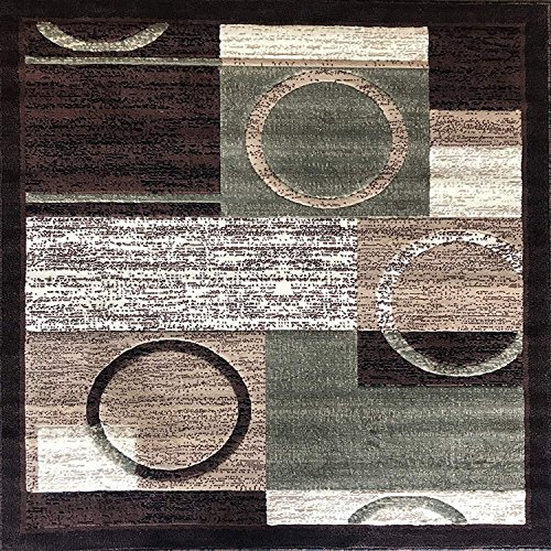 Americana Modern Square Area Rug Brown & Green Design 1497 (7 Feet 3 Inch X 7 Feet 3 Inch)