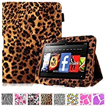 """Cellularvilla Amazon Kindle Fire Hd 7"""" Inch 2012 Generation Tablet Brown Leopard Slim Fit Flip Folio Leather Smart Stand Case Cover Protector (will only fit Amazon Kindle Fire HD 7"""" 2012)"""