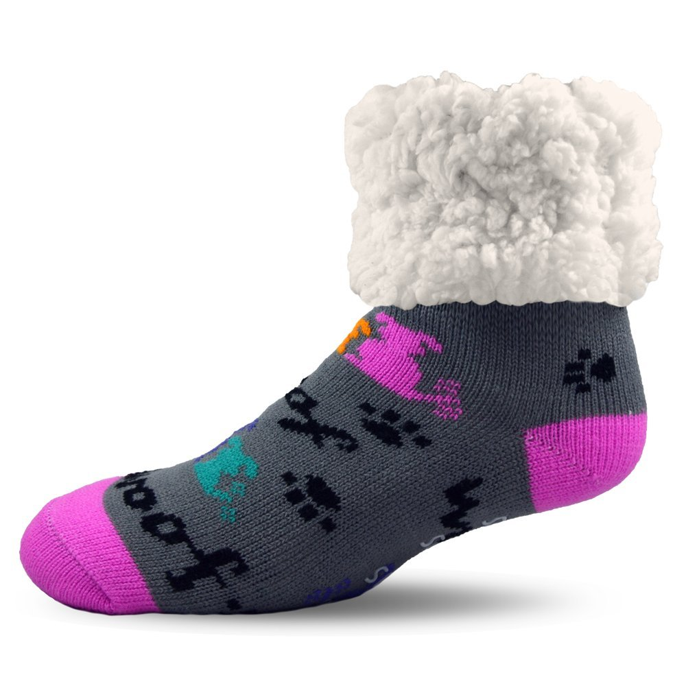 Pudus Unisex Classic Slipper Socks, Adult, Dog Grey DOG-GRY-1-C