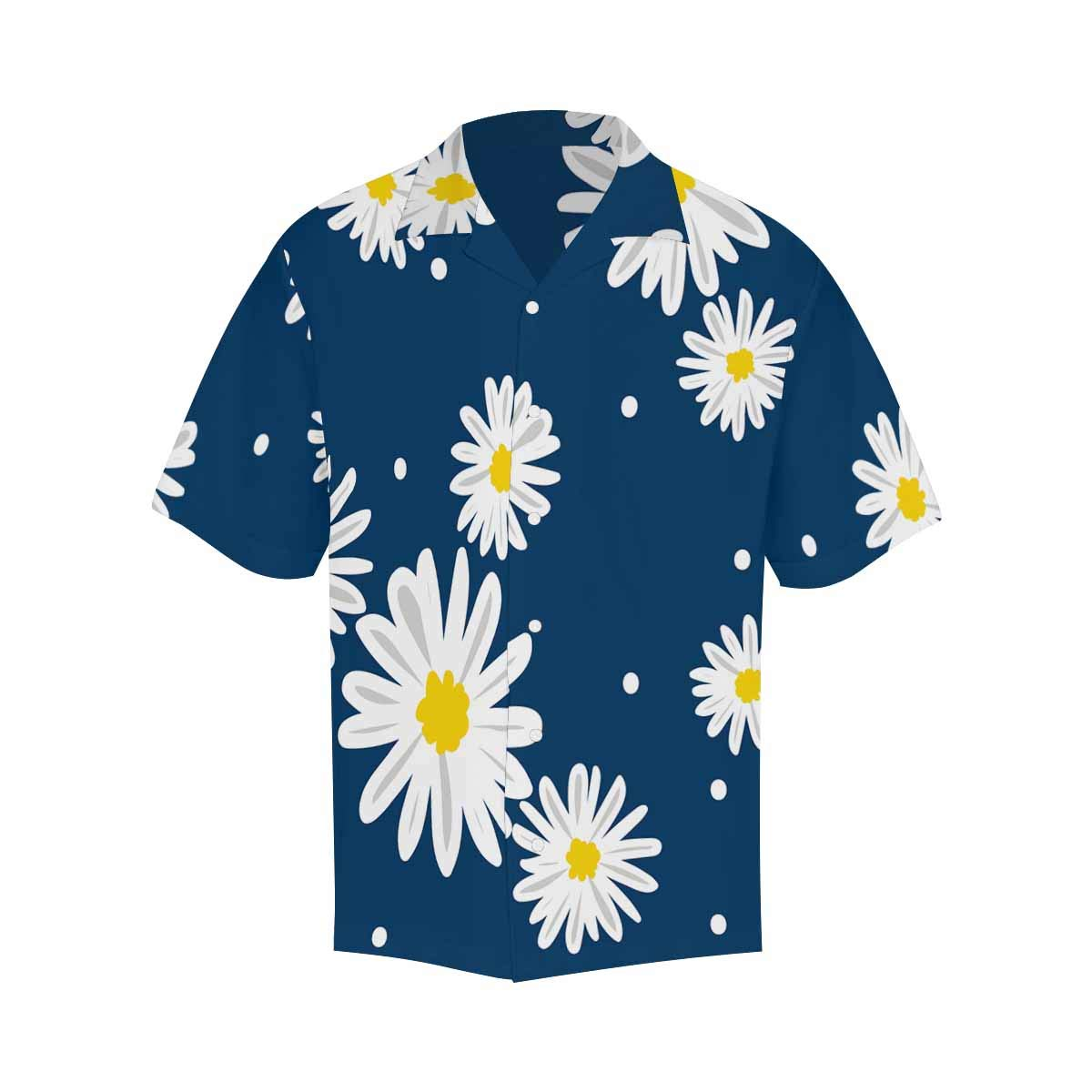 InterestPrint Mens Casual Loose Fit White and Black Flowers Shirt Short Sleeve Button Up Casual Beach Party Tops for Men