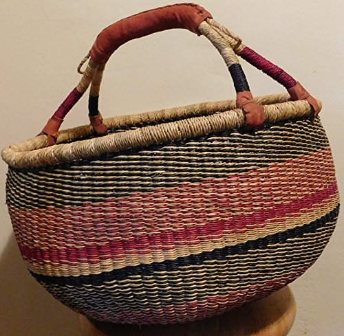 African Tribal Straw & Leather Shopping Bolga Basket Bag Large Shoulder Tote - Picture Simulator Frame