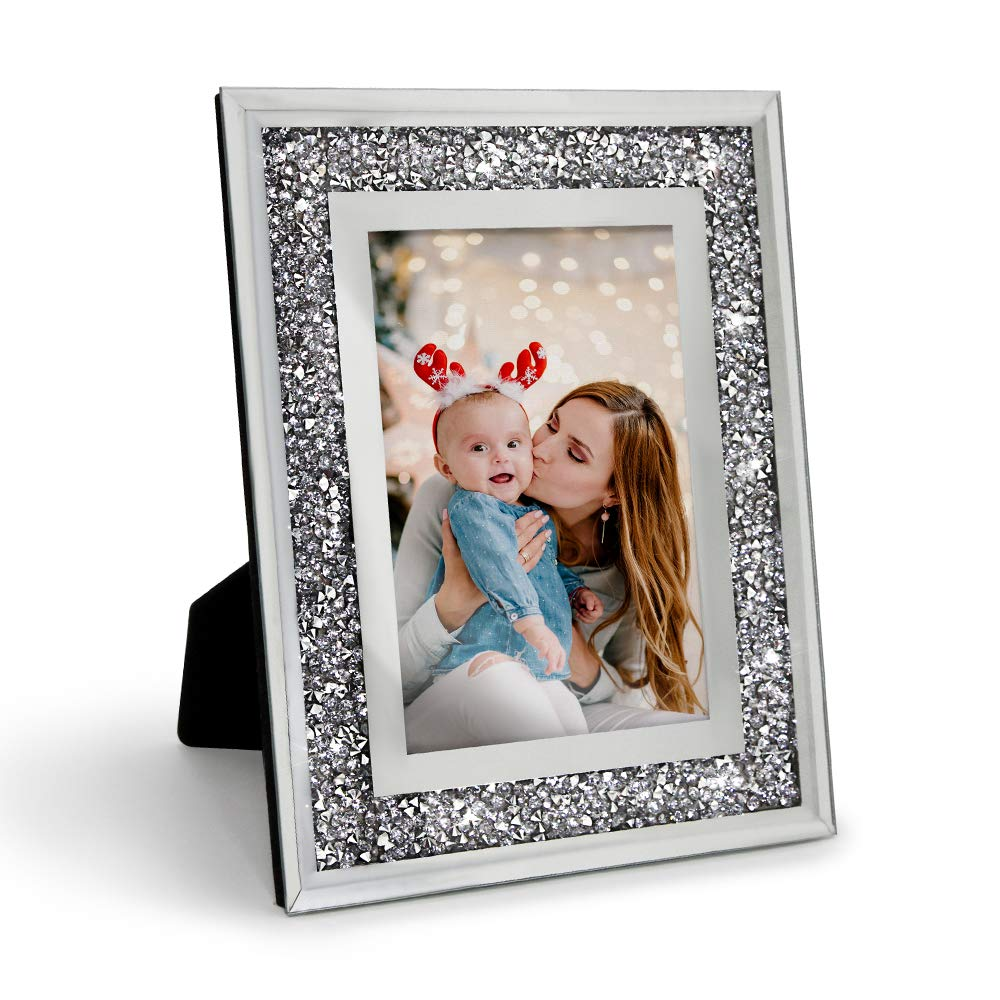 Afuly Wedding Glass Photo Frame 4x6 Silver Mirrored Sparkle Picture Frame For Mum Family Display On Desk Buy Online In Aruba At Aruba Desertcart Com Productid 154415037